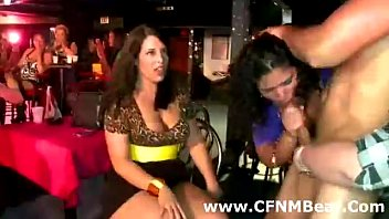 Amateur party babes give blowjob to stripper