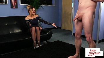 Dominant UK voyeur instructing a tugging guy