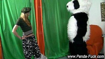 Fetish bizarre toy panda and army babe