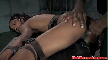 Black bdsm sub gagging on maledom before anal