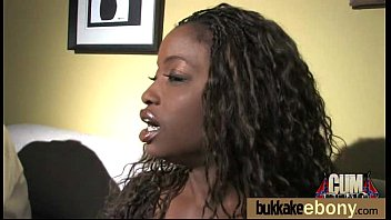 Ebony gets group cumshots 12