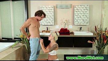 nuru lubricious gel on gorgeous kinky customer and.