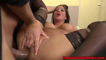 Assfucked dominated chick gets facialized