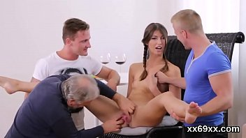 Lover assists with hymen physical and poking of virgin nympho