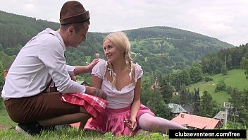 ponytailed teenager gets drilled outdoors