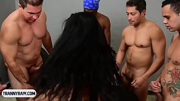 Latina tranny beauty with big tits gangbanged by guys