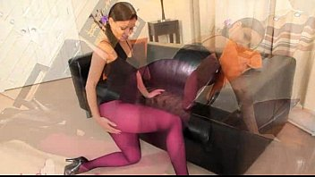 Purple nylon pantyhose on extreme babe