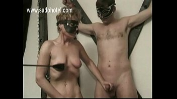 naughty gimp mastrubate her own puss and milking.