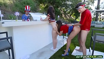 Mommy and teen 3some sex on 4th of July