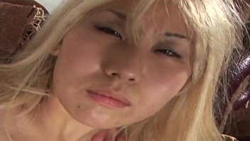 Slutty blonde Asian gets her holes banged hard before facial