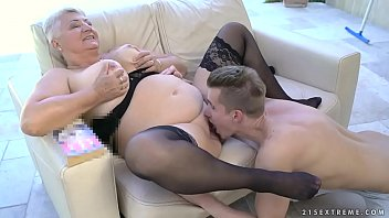 Fat grandma'_s tits covered with jizz