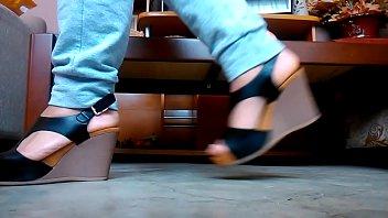 me ambling in wonderful beige high-heeled.