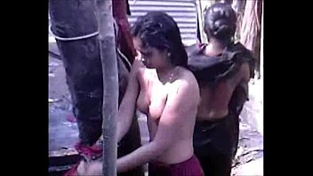 Desi group of Teen Girls Bathing Outdoor
