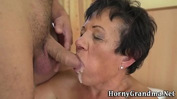 Old lady gets cum facial