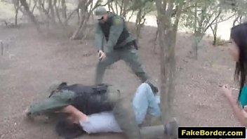 Slutty Latina babe fucked by fake border patrol agent