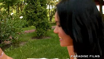 PARADISE FILMS Outdoor Lesbian Massage Threesome
