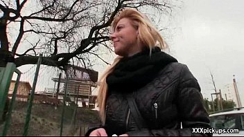 Slutty blonde Czech babe is paid cash from some crazy public sex 10