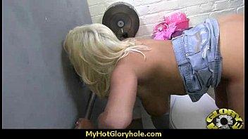 Ebony teen shows off her blowjob skills at gloryhole 21