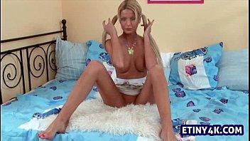 Crazy blonde teen fingering herself in 4k