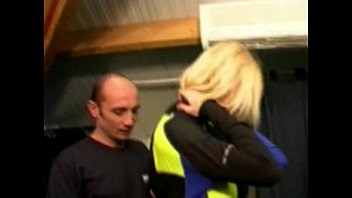 Blonde milf double penetrated in a shop