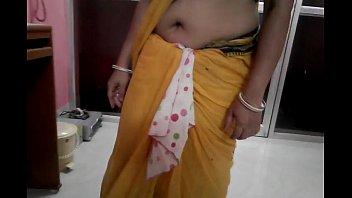 Wife Showing her Big Deep Navel hole on my demand in Low-Waist Saree -1