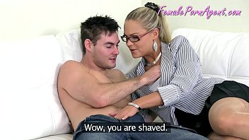 Stunning blonde testing a guy for the porn