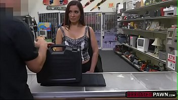 Latina MILF Sophie Leon sucks cock in the pawnshop