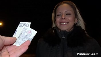Blonde Euro lady fucks big cock public agent