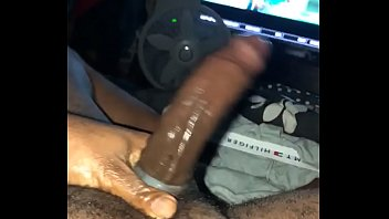 monstrous ebony stiffy fapping with cockring