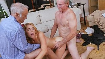 Two Old Dicks Used On Blonde Teen Raylin At One Time