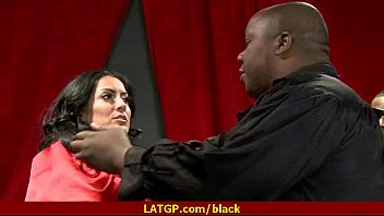 Hot MILF deepthroats gags and gets banged by a black cock 11