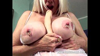 Blonde mature big pierced tits and snatch