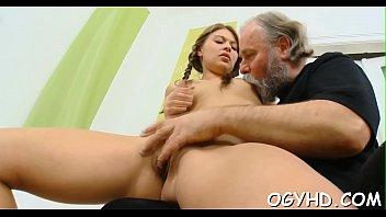 Nice young hottie licks old dick