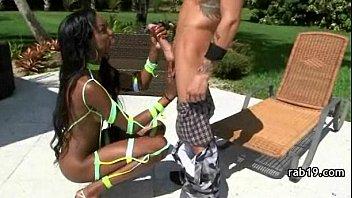 black ebony cutie bounce on white dick round hot sexy butt