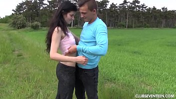 ebony-haired teenage honey gets boned outdoors