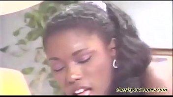 Classic ebony bitch rides white cock