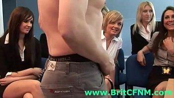 British dude strips for group of European CFNM women