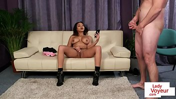buxomy black gal dom gives jerk off instructions.