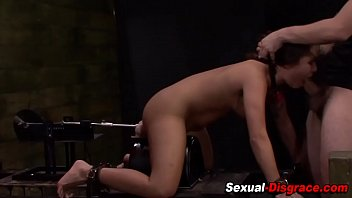 Tied up slave pussy toyed