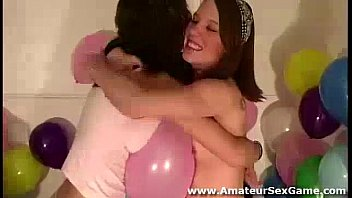 Lesbian sex for group of amateur girls at party
