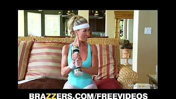 Horny big-tit blonde yoga MILF Brandi Love takes a big hard cock