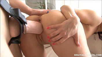 Pierced brunette Bella fucked by cute friend with big dildos