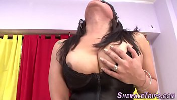meaty-chested tgirl gets plumbed