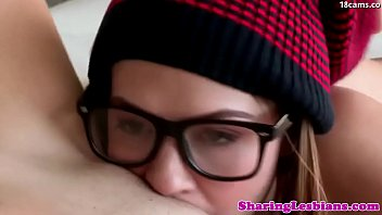 Lesbian girlfriend in real couple orgasms