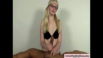 Blonde spex teen wanking his hard cock