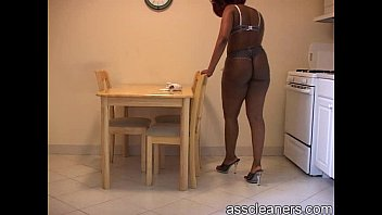 lush dark-hued domme in bathing suit cleans the.