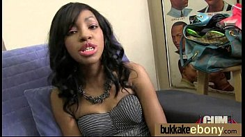 Ebony Cum Slut Hottie Bukkake Party 4