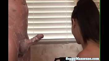 giant-chested chinese masseuse scissoring on a rock hard prick