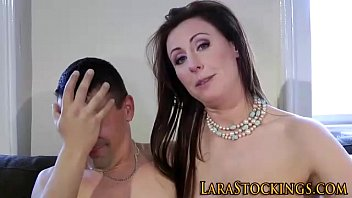 Stockings milf swallows