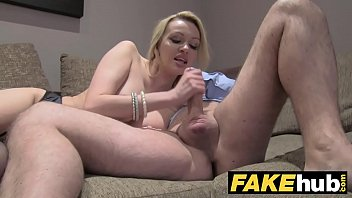 Fake Agent UK Amateur big tits MILF sucks cock for cash on casting couch